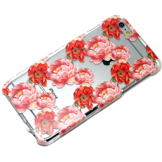 Red Pink Peony Floral Pattern