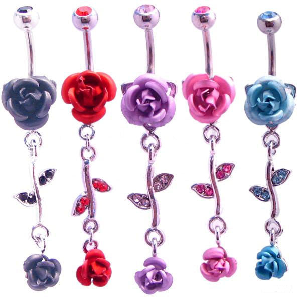 Rose with Dangling stem Navel Ring