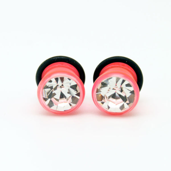 Single Flared Ear Gauges With Single Gem