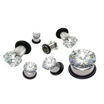 Single Flared Cubic Zirconia Prong Ear Gauges