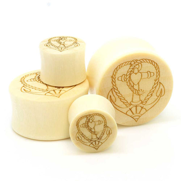 SALE- Stay Gold Organic Anchor Heart Ear Plugs