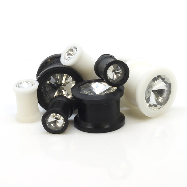 Silicone Flesh Tunnels With Single Gem
