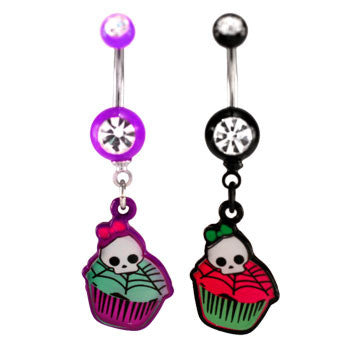 Skull On Cupcake Navel Ring