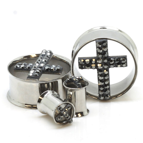 Stainless Steel Tiffany Cross Ear Gauges