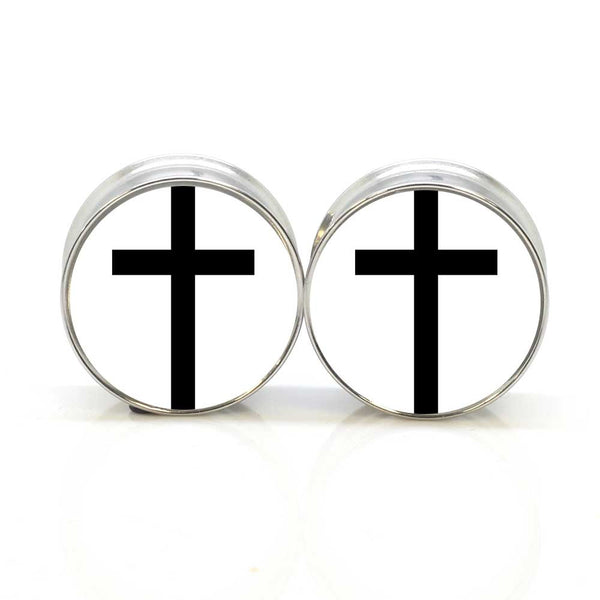 Black Cross Ear Plugs - BodyJewelrySource