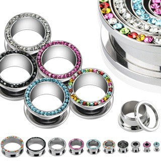 stainless steel flesh tunnels with gems