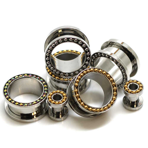 Stainless Steel Flesh Tunnels With Beads