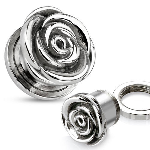 Stainless Steel Rose Flesh Ear Tunnel