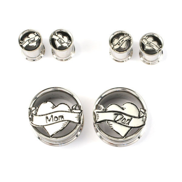Stainless Steel Mom & Dad Heart Plugs