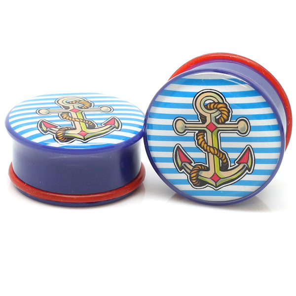 Striped Anchor Logo Ear Plugs