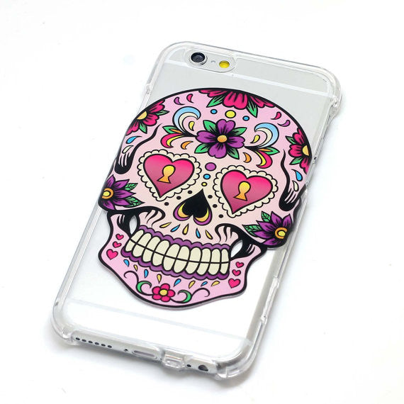 Sugar Skull With Pink Flower