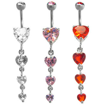 Three Heart Dangle Navel Ring