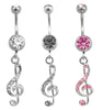 Treble Clef Navel Ring