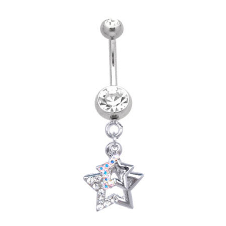 Two Dangling Stars Navel Ring