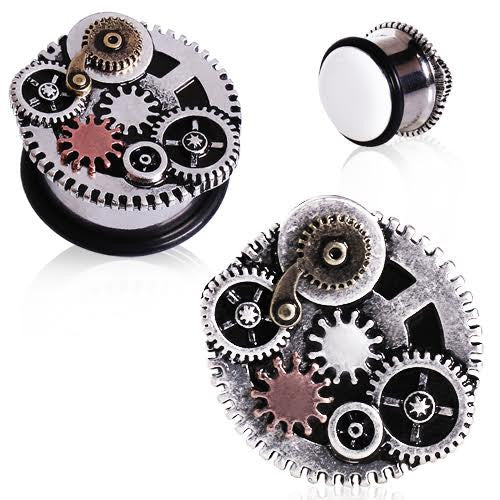 Single Flared Steam Punk Gear Plugs