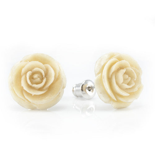 White Rose Studs Earrings