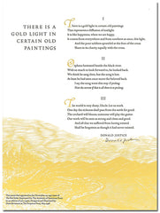 "Donald Justice Broadside - ""There is a Gold Light in Certain Old Paintings"" (Signed)"