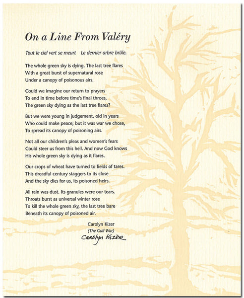 "Carolyn Kizer Broadside - ""On a Line From Valéry"" (Signed)"