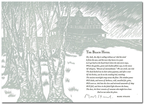 "Mark Strand Broadside - ""The Beach Hotel"" (Signed)"