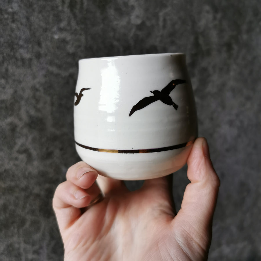 Birds on White with gold band Whisky Vessel