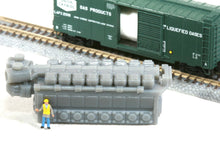 Load image into Gallery viewer, Z Scale 8200HP 16 Cylinder Industrial Engine Model Railroad Flatcar Load Grey