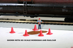 HO or S Scale Safety Traffic Cones / Pylons model 10-Pack Model Railroad Load