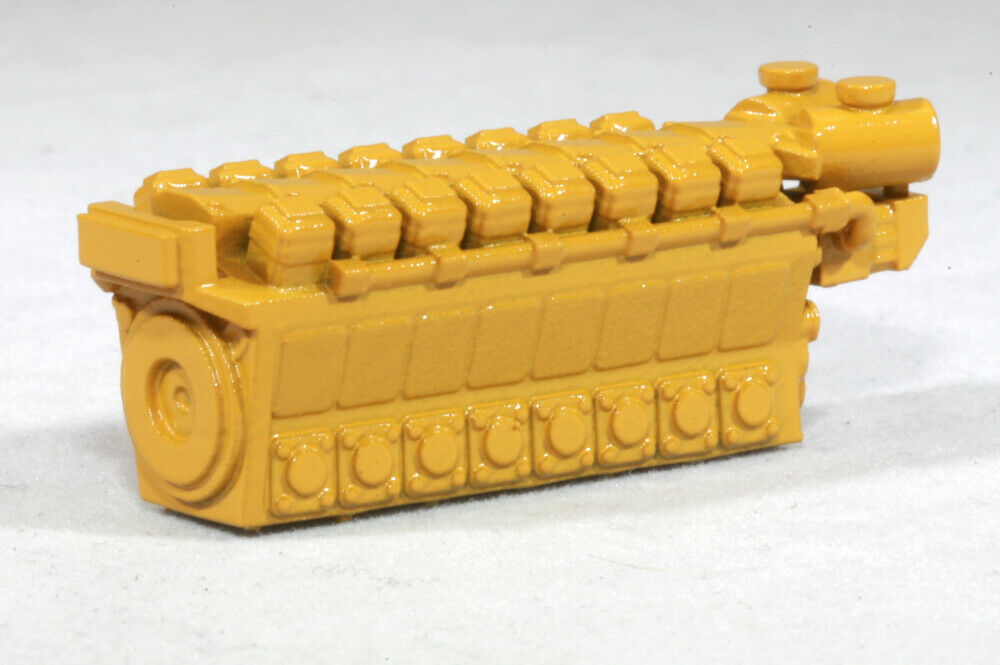 Z Scale 8200HP 16 Cylinder Industrial Engine Model Railroad Flatcar Load YELLOW
