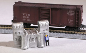 Z Scale Double-Bearing Steel Casting Railroad Flatcar Load METALLIC color