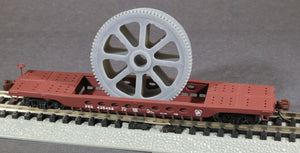 N Scale Massive Bethlehem Steel Geared Pulley Well car Load Grey