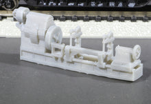 Load image into Gallery viewer, N Scale Mesta Machine Enclosed Headstock Roll Turning Lathe Flatcar Load Model