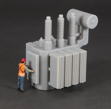 Load image into Gallery viewer, HO Scale Railroad High Voltage Oil Filled Power Transformer Flatcar Load