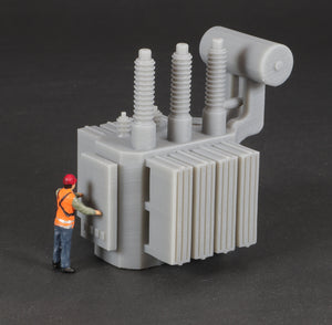 HO Scale Railroad High Voltage Oil Filled Power Transformer Flatcar Load