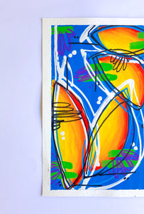 Intuitive Painting On Paper, Contemporary Blue and Yellow Painting on Paper