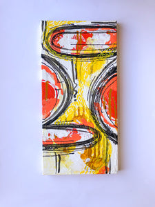 """Work on you, work for you"" Abstract Expressionism Painting on Canvas, Orange and Yellow Painting"