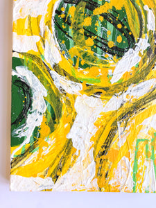 """Yellow and white"" Expressionism Painting on Canvas, Yellow and white painting"