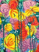 "Load image into Gallery viewer, ""Green and Flower"" Floral Abstract Painting On Canvas, Spring Acrylic Painting"