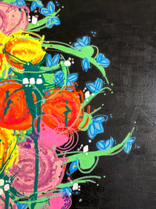 """Green and Flower"" Floral Abstract Painting On Canvas, Spring Acrylic Painting"