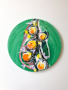 """Waking flowers"" Abstract floral painting on canvas, abstract round painting"