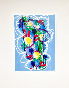 """Do it for you III""  Abstract poster and wall frame, Intuitive Blue Painting on Paper"