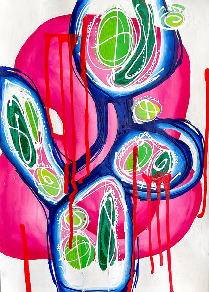 """Lagrimas Red"" Ink and Acrylic painting on Paper, Fuscia and Green Painting"