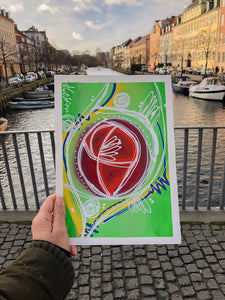"""Around Nyhavn"" Intuitive Painting On Paper,Abstract  Poster Frame, Original Print"