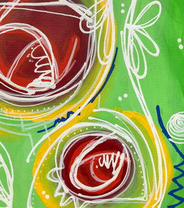 """Dream big. Work Hard. Make it happen."" Abstract Expressionism Painting on Paper, Green Painting"