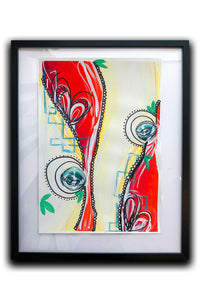 """Autumn in Denmark 1"" Expressionism Painting on paper and framed, Red Abstract Poster"