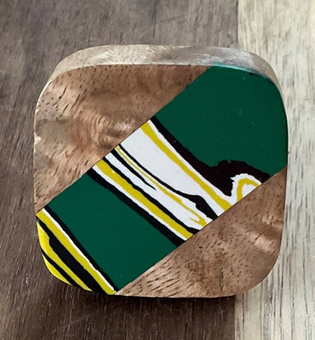Green & Yellow Wooden Knob