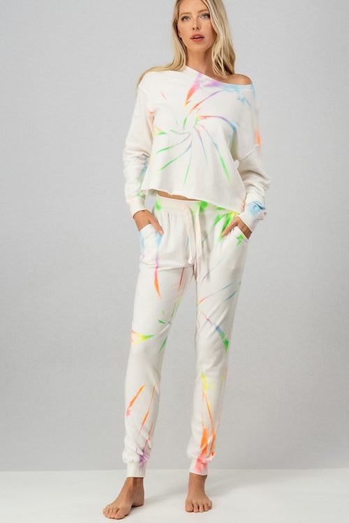 LADIES NEON MULTI COLOR TIE DYE SWEATPANTS