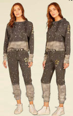 Ladies Vintage Havana Acid Grey With Gold Stars Sweatpants