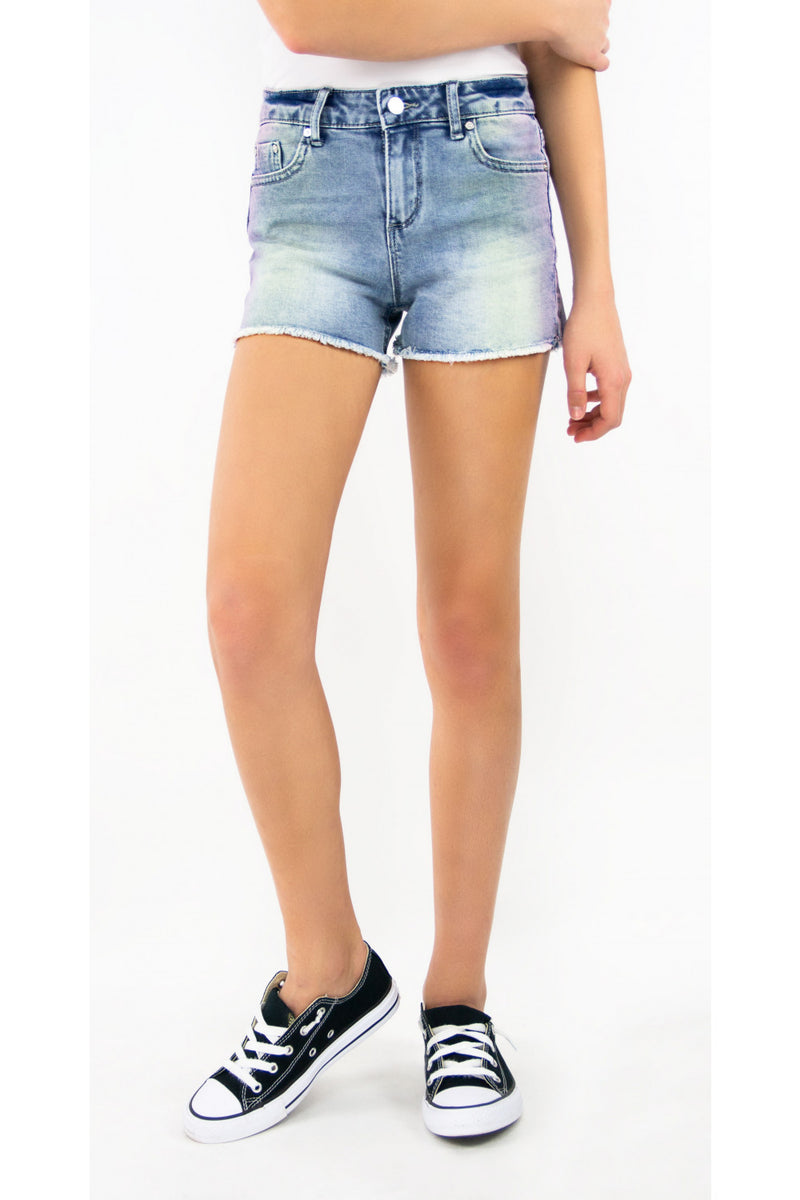 Tractr Girls Brittany Ombre Fray Hem Short