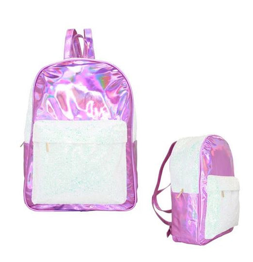 American Jewel Metallic Pink Disco Vibe Glitter & Iridescent Large Backpack