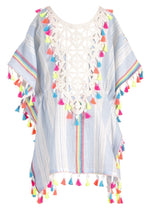 Hannah Banana Striped Cover Up Poncho