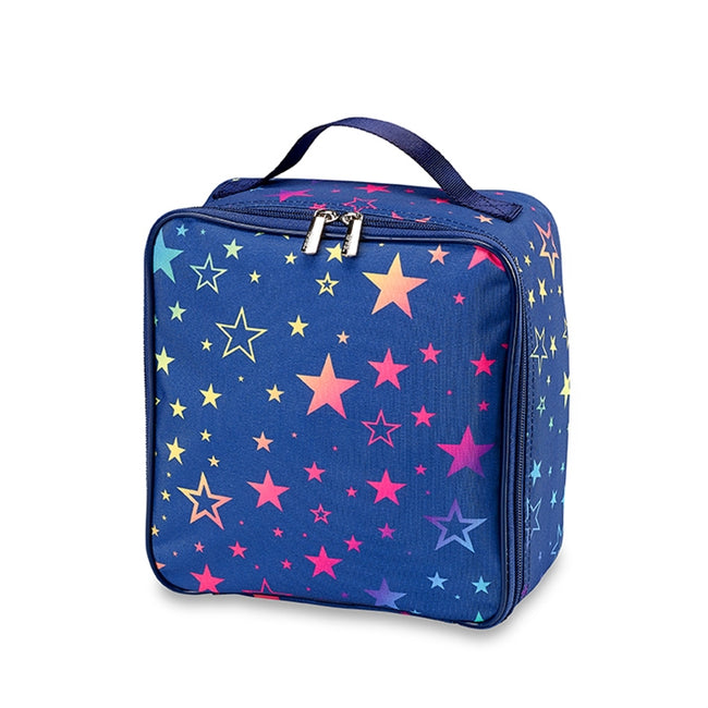 Top Trenz Navy Multi Star Canvas Insulated Lunch Box